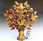 Vintage Mexican Tree Of Life Pottery Large Candelabra Sculpture 22