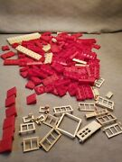Lot Of Vintage Halsam Plastic American Bricks Red And White Many Windows
