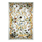 4and039x2.5and039 Marble Side Table Top Pietra Dura Floral Inlay Work Home Decor Hh