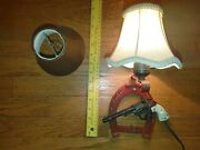 Vtg Crafted Cast Iron Horseshoe Hubley Star Toy Pistol Red/black 12 Wall Lamp