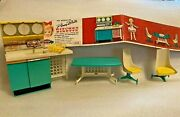 Penny Brite Doll Kitchen Hutch And Chairs Table Dishrack Furniture 1960's