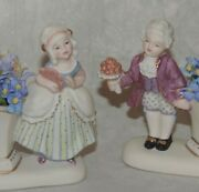 Vintage Artisan Miniature Bisque Boy/girl Figural Vases Dollhouse/doll Related