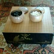 Go Board Shin-kaya Wood 1pc W /go Stones And Cases Japanese Board Game Top Quality