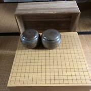 Go Board W/ A Paulownia Wooden Cover Go Stones And Cases Set Japanese Board Game
