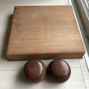Go Board 1pc W/go Stones And A Paulownia Wooden Case Japanese Board Game Vintage