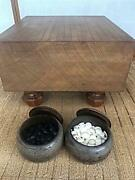 Go Board Table Wood W/legs Go Stones And Cases Set Japanese Board Game Igo Vintage