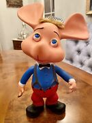 Vintage 1960's Topo Gigio Rubber Doll Holding A Cigar 12 Inch