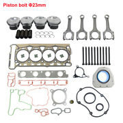 Pistons Rods 23mm And Head Cover Gaskets Set Kit For Vw Audi 2.0 Tfsi Cdn Ccz Cae