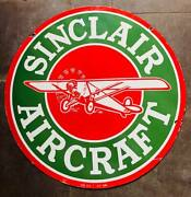 Sinclair Aircraft Vintage Porcelain Enamel Sign Double Sided 30 Inch Sign