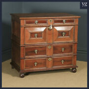 Antique 17th Century William And Mary Oak And Fruitwood Geometric Chest Of Drawers