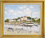 Jean-pierre Dubordlisted Artistfishing Boats In Brittanyoriginal Oil Painting