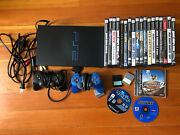 Sony Playstation 2 Bundle Lot 2 Controllers, 2 Memory Cards And 21 Games. Tested