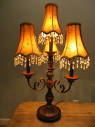 Tall 4-arms 4 Lights Candelabra Table Lamp W/4 Silk And Beaded Crystal Shades