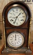 Beautiful Welch Calendar Wall Or Mantle Clock With Two Circular Dials