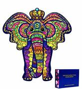 Wooden Jigsaw Puzzles For Adults And Kids, Large Size Decorative Elephant Woo...