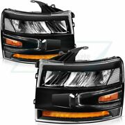 For 2007-2013 Chevrolet Silverado Headlamps Replacement Led Headlight Left+right