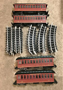 4 Bachmann G Scale Lighted Pennsylvania Passenger Cars 15 21 40 Pieces Track