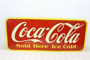 Vintage Original 1947 Coca-cola Sold Here Ice Cold Tin Sign Advertising Metal