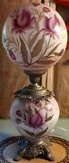 Antique Huge Hand Painted Gone With The Wind Lamp 3 Way Switch Handpainted 29t