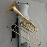 Professional Gold Brass Bass Trombone Double Rotor Detachable Bell Hard Case