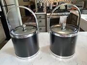 Two 2 Vintage Kraftware Ice Bucket - Black Leather And Silver