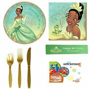 Tiana And The Frog Disney Princess Party Supplies Bundle Featuring Plates, Na...