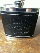 Jack Daniels Old 7 Brand Stainless Steel And Leather Flask 2009