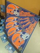 Lot Of 5 New Ncaaf Florida Gators 3-time National Champions Wincraft Pennants