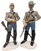 Pair Of Civil War Confederate Soldier Ceramic Figurines Signed By Artist 1998