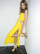 Versace Yellow Or Black Cut Out One Shoulder Sheer Panel Dress Gown 42 6