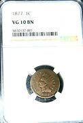1877 Indian Head Cent Penny The Key Coin Ngc Graded Vg10 Bn Mintage 852,500