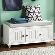 Entryway Mudroom Wood Storage Bench W/2 Cabinets Home Collection Furniture White