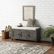 Entryway Mudroom Wood Storage Bench W/2 Cabinetsandcushion Homes Collection Gray