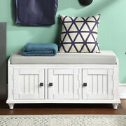 Entryway Mudroom Wood Storage Bench W/2 Cabinets Upholstered Console Bench Seat