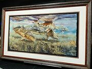 Chance Yarbrough Fence Lake Frenzy Full Sheet Giclee 16 X 30 Red And Speck Framed