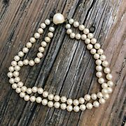 """Double Strand Pearl Choker Necklace Pearl Clasp 16"""" Long Vtg 80s Costume Jewelry"""