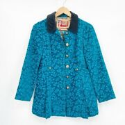 Free People Size 4 Gypsy Jacquard Teal Military Coat Velvet Steampunk