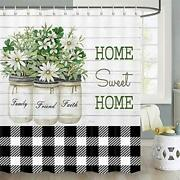 Farmhouse Shower Curtain Rustic Flowers Leaves In Shabby Chic Flowerpot At Co...