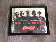 """Budweiser """"this Bud's For You"""" U.s. Armed Forces Army Marines Man Cave Mirror"""