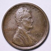 1917-d Lincoln Wheat Cent Penny Choice Unc Free Shipping E579 Jmr