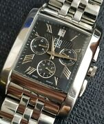 Movado Esq Tank Blackroman Dial Chronograph With Date,new Glass,stainless Steel.