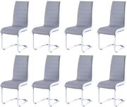 8pcs Faux Leather Modern Dining Chairs For Dining Roomkitchen Living Room Gray