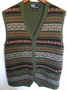 Polo Fair Isle Button Front Sweater Vest Wool/camel/alpaca Large