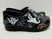Sanita Danish Hand Painted Signed Halloween Themed Clogs Shoes Size 38 / 7-7.5