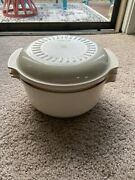 Tupperware 3 Qt Microwave Stack Cooker Bowls Lid 3 Piece Set Almond