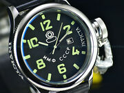 New Menand039s 52mm Russian Diver Automatic Luminous Leather Strap Ss Watch