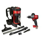 Milwaukee M18 Fuel 3n1 Backpack Vacuum 1/2 Inch Hammer Drill 18v Cordless 2 Tool
