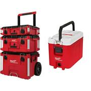 Milwaukee Packout Modular Tool Box Storage System Cooler Lockable Wheeled Red