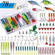 78pcs Freshwater Fishing Lures Baits Tackle Kit Fishing Accessories With Spoon