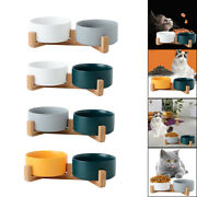 Elevated Pet Dog Cat Ceramics Food And Water Bowls With Non Slip Stand